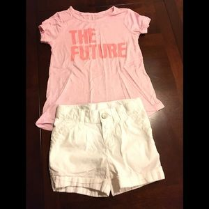 Blouse Color Pink and Short Color White Size 3T